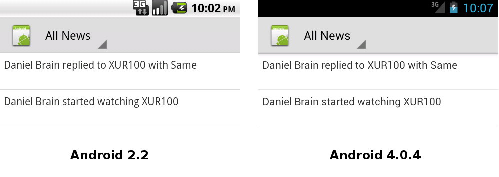 Android 2.2 vs Android 4.0.4