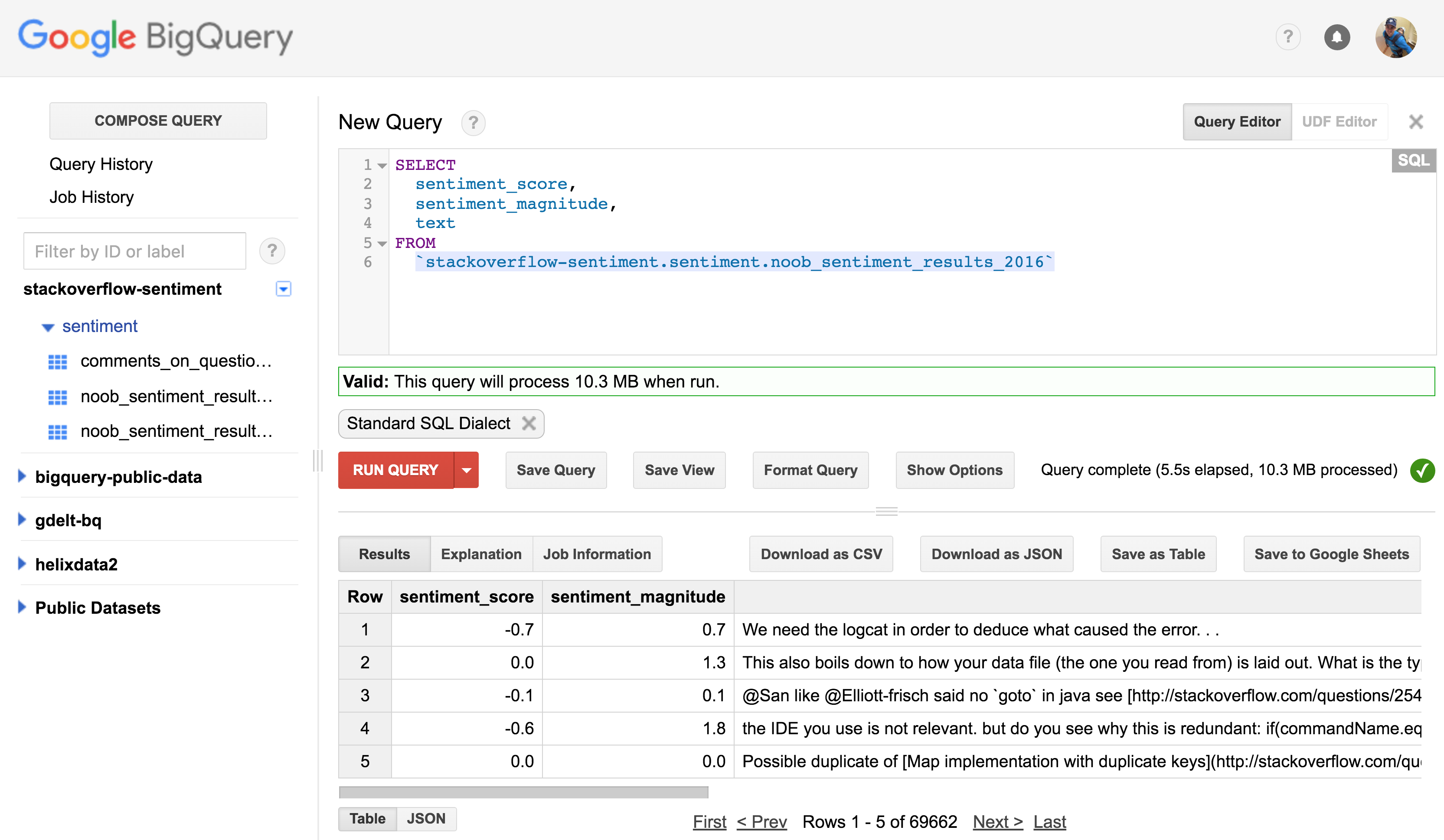 Analysing Stack Overflow comment sentiment using Google