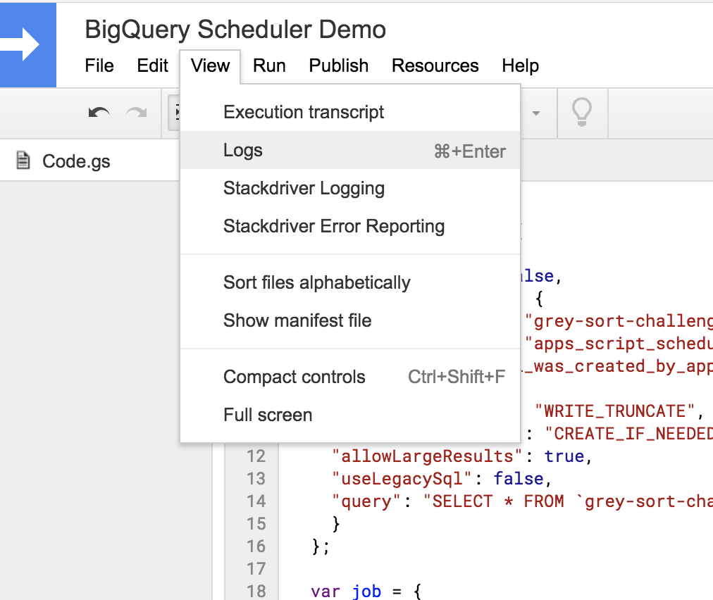 Scheduling bigquery jobs using google apps script shine once you rundebug it you can view the logs baditri Image collections
